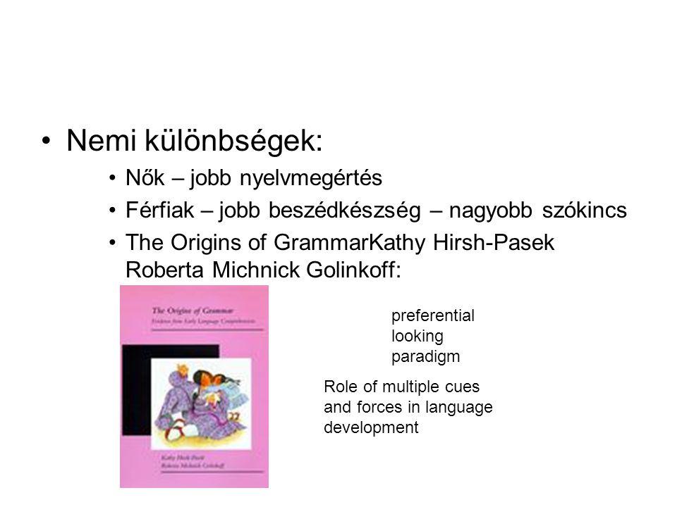 Nemi különbségek: Nők – jobb nyelvmegértés Férfiak – jobb beszédkészség – nagyobb szókincs The Origins of GrammarKathy Hirsh-Pasek Roberta Michnick Go