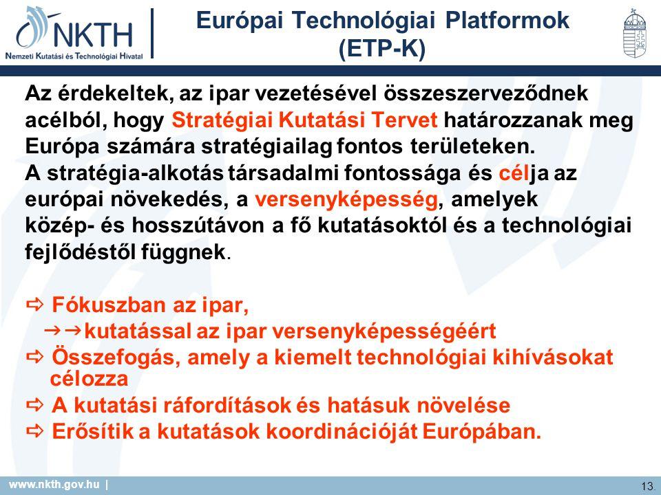 www.nkth.gov.hu | 13. Európai Technológiai Platformok (ETP-K) Az érdekeltek, az ipar vezetésével összeszerveződnek acélból, hogy Stratégiai Kutatási T