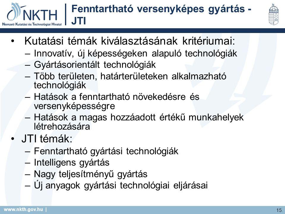 www.nkth.gov.hu | 15. Fenntartható versenyképes gyártás - JTI Kutatási témák kiválasztásának kritériumai: –Innovatív, új képességeken alapuló technoló