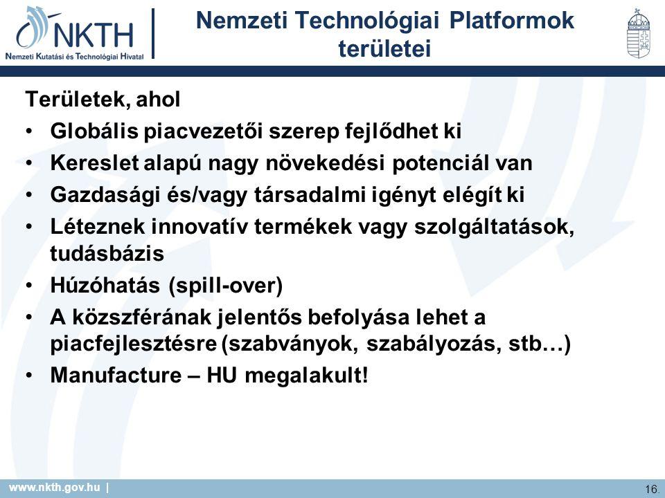 www.nkth.gov.hu | 16. Nemzeti Technológiai Platformok területei Területek, ahol Globális piacvezetői szerep fejlődhet ki Kereslet alapú nagy növekedés