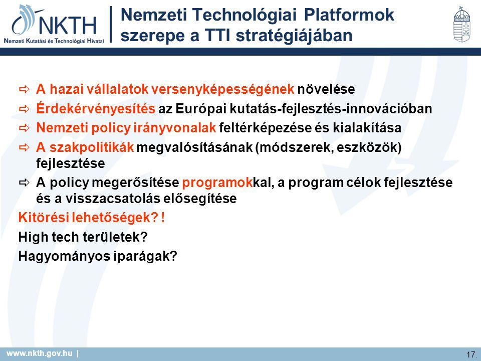 www.nkth.gov.hu | 17. Nemzeti Technológiai Platformok szerepe a TTI stratégiájában  A hazai vállalatok versenyképességének növelése  Érdekérvényesít