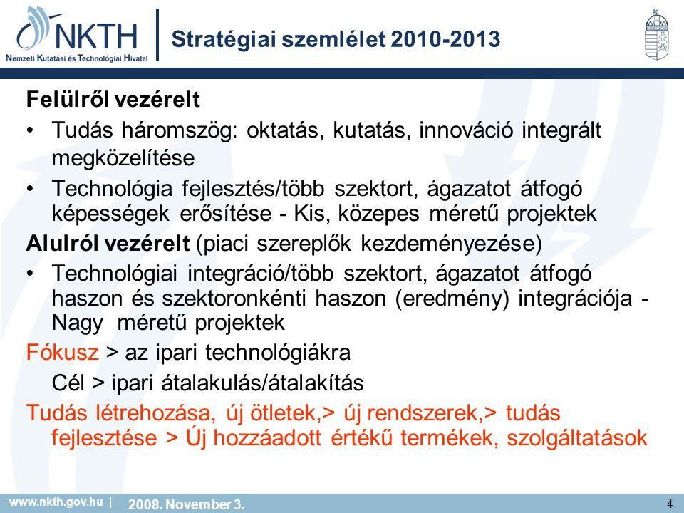 www.nkth.gov.hu | 4. Stratégiai szemlélet 2010-2013 Felülről vezérelt Tudás háromszög: oktatás, kutatás, innováció integrált megközelítése Technológia