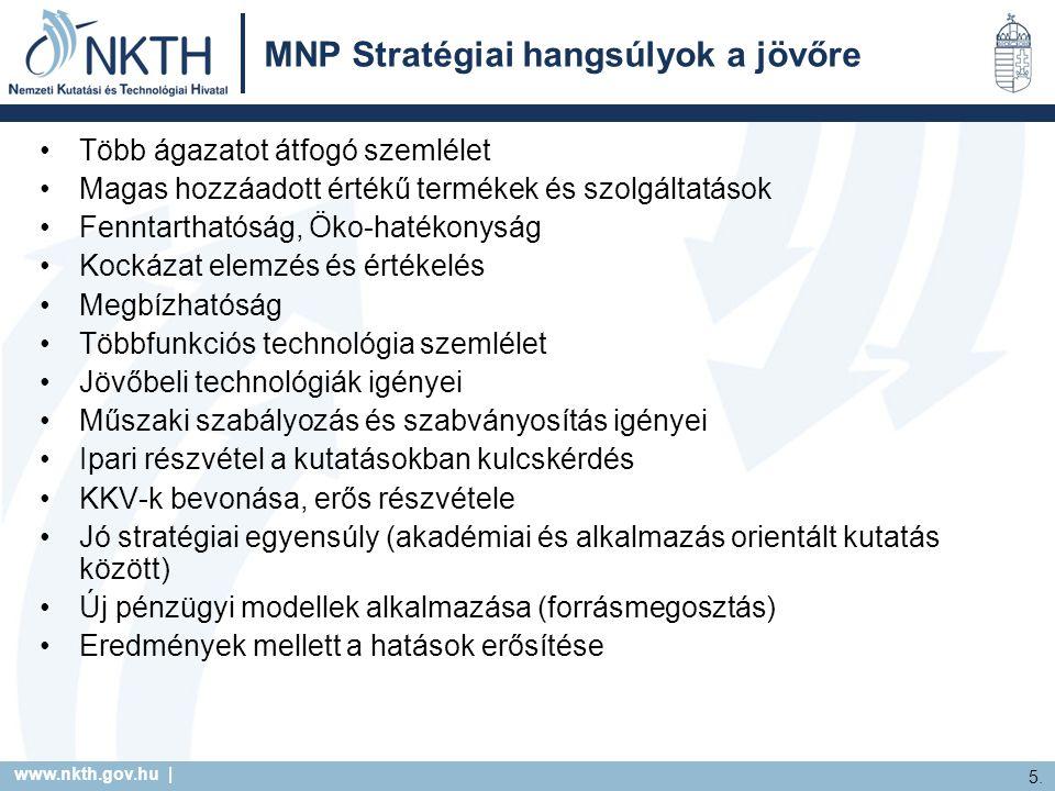 www.nkth.gov.hu | 5. MNP Stratégiai hangsúlyok a jövőre Több ágazatot átfogó szemlélet Magas hozzáadott értékű termékek és szolgáltatások Fenntartható