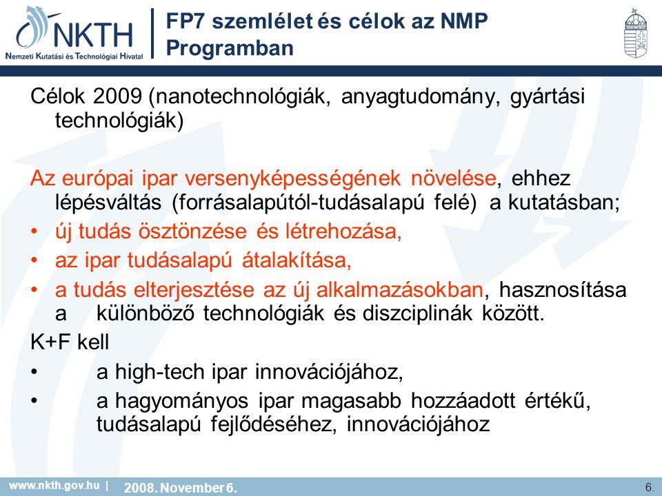 www.nkth.gov.hu | 6. FP7 szemlélet és célok az NMP Programban Célok 2009 (nanotechnológiák, anyagtudomány, gyártási technológiák) Az európai ipar vers
