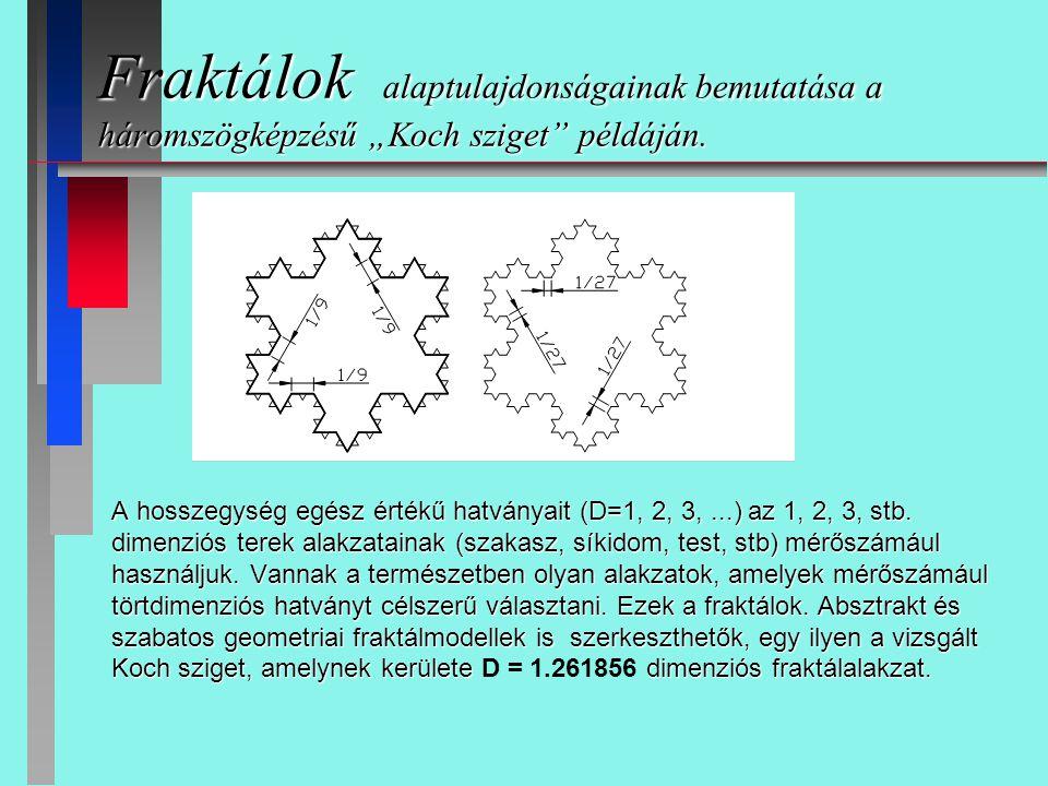 """Fraktálok alaptulajdonságainak bemutatása a háromszögképzésű """"Koch sziget"""" példáján. A hosszegység egész értékű hatványait (D=1, 2, 3,...) az 1, 2, 3,"""