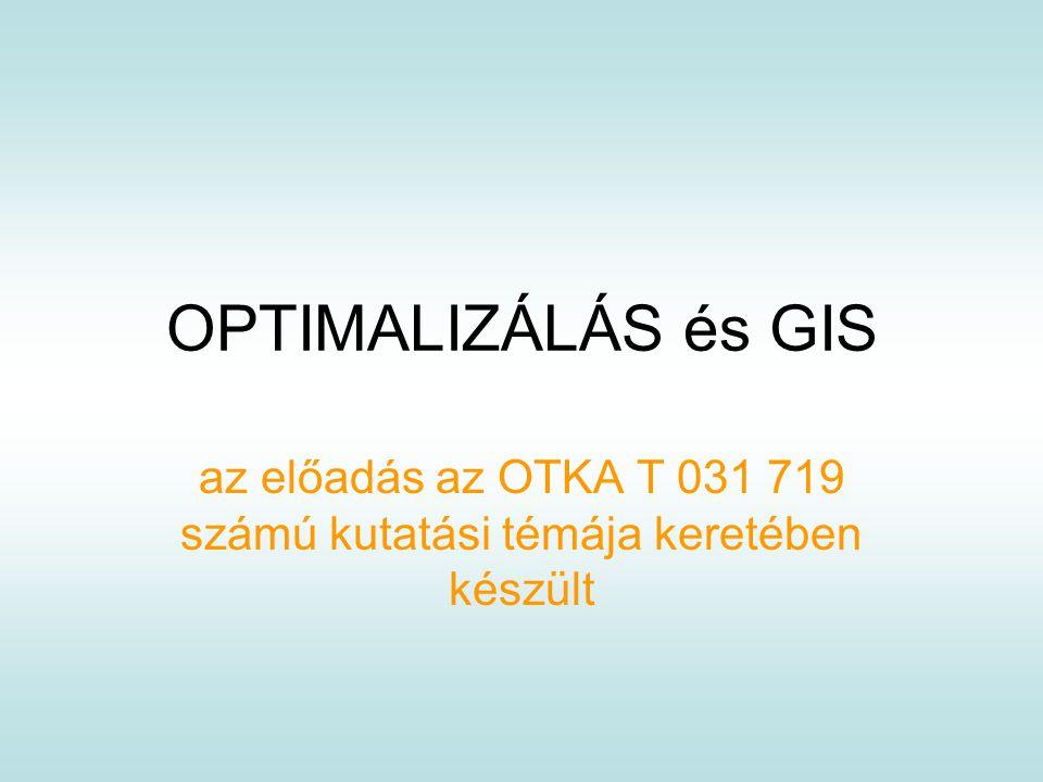 OPTIMALIZÁLÁS és GIS az előadás az OTKA T 031 719 számú kutatási témája keretében készült