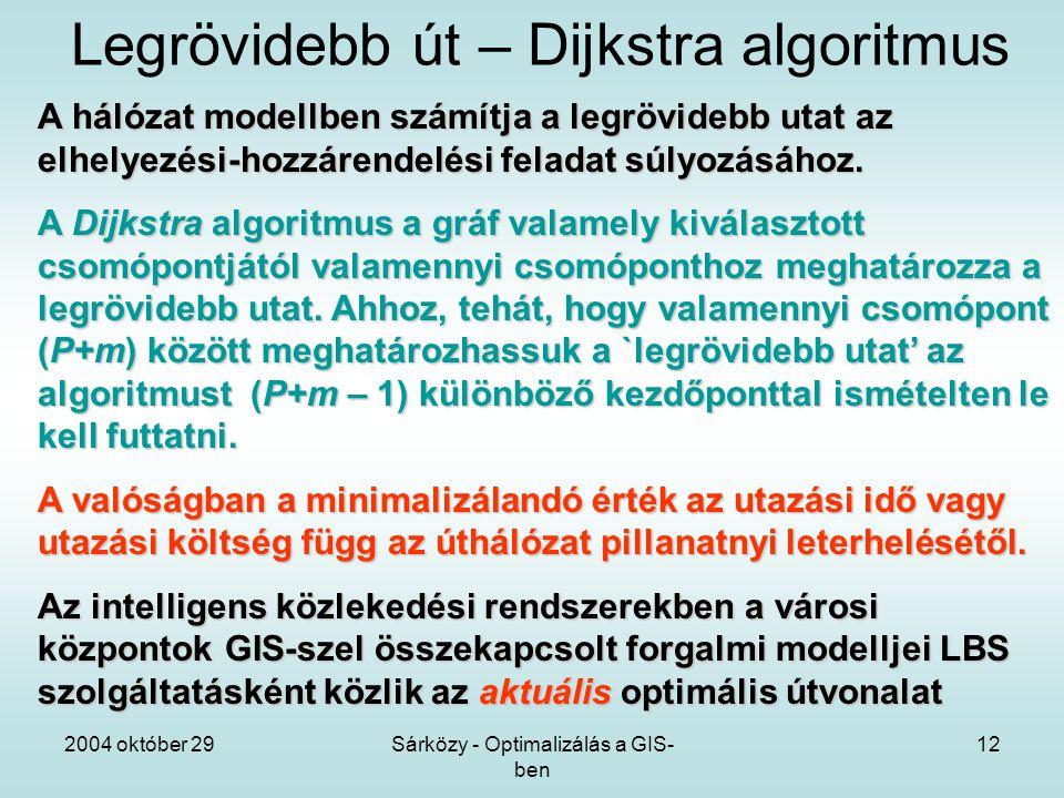 2004 október 29Sárközy - Optimalizálás a GIS- ben 12 Legrövidebb út – Dijkstra algoritmus A hálózat modellben számítja a legrövidebb utat az elhelyezési-hozzárendelési feladat súlyozásához.