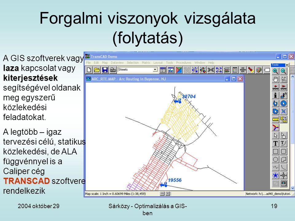 2004 október 29Sárközy - Optimalizálás a GIS- ben 19 Forgalmi viszonyok vizsgálata (folytatás) laza kiterjesztések A GIS szoftverek vagy laza kapcsolat vagy kiterjesztések segítségével oldanak meg egyszerű közlekedési feladatokat.