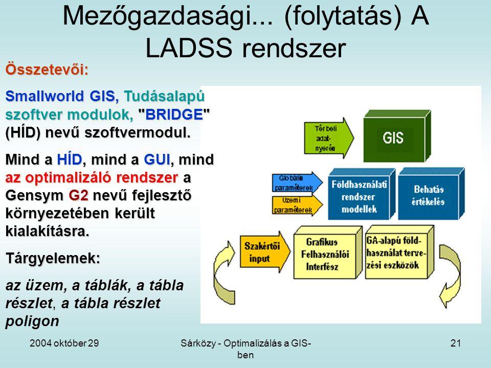 2004 október 29Sárközy - Optimalizálás a GIS- ben 21 Mezőgazdasági...
