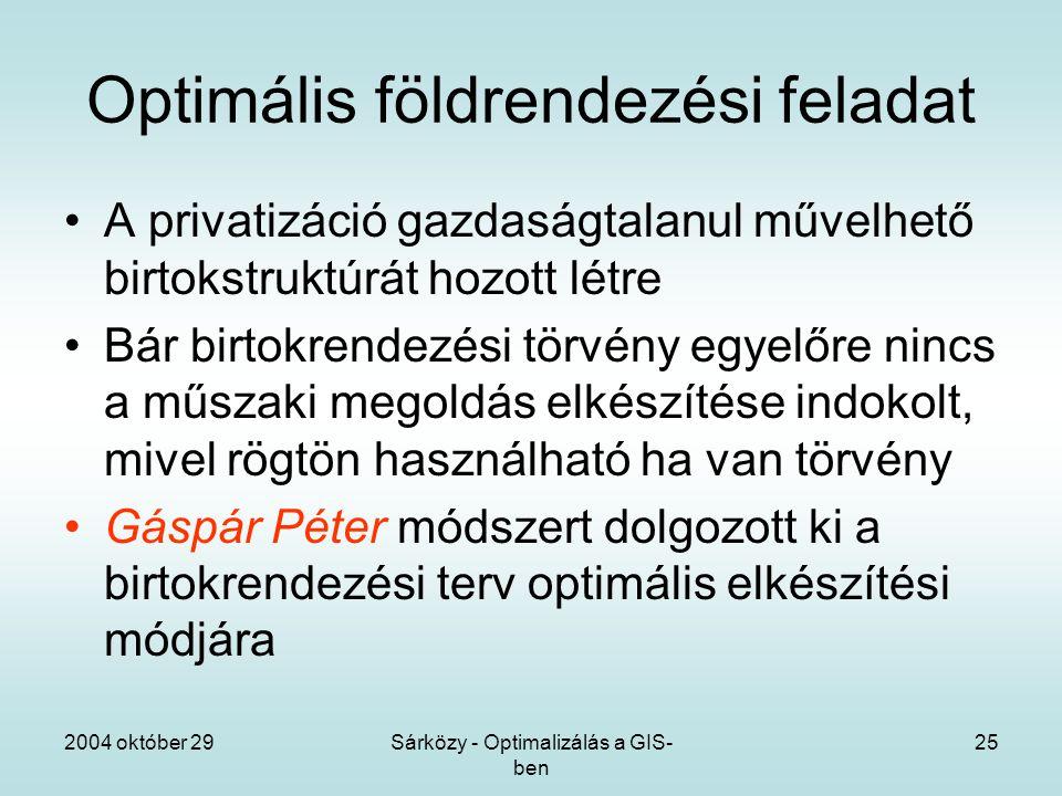 2004 október 29Sárközy - Optimalizálás a GIS- ben 25 Optimális földrendezési feladat A privatizáció gazdaságtalanul művelhető birtokstruktúrát hozott létre Bár birtokrendezési törvény egyelőre nincs a műszaki megoldás elkészítése indokolt, mivel rögtön használható ha van törvény Gáspár Péter módszert dolgozott ki a birtokrendezési terv optimális elkészítési módjára