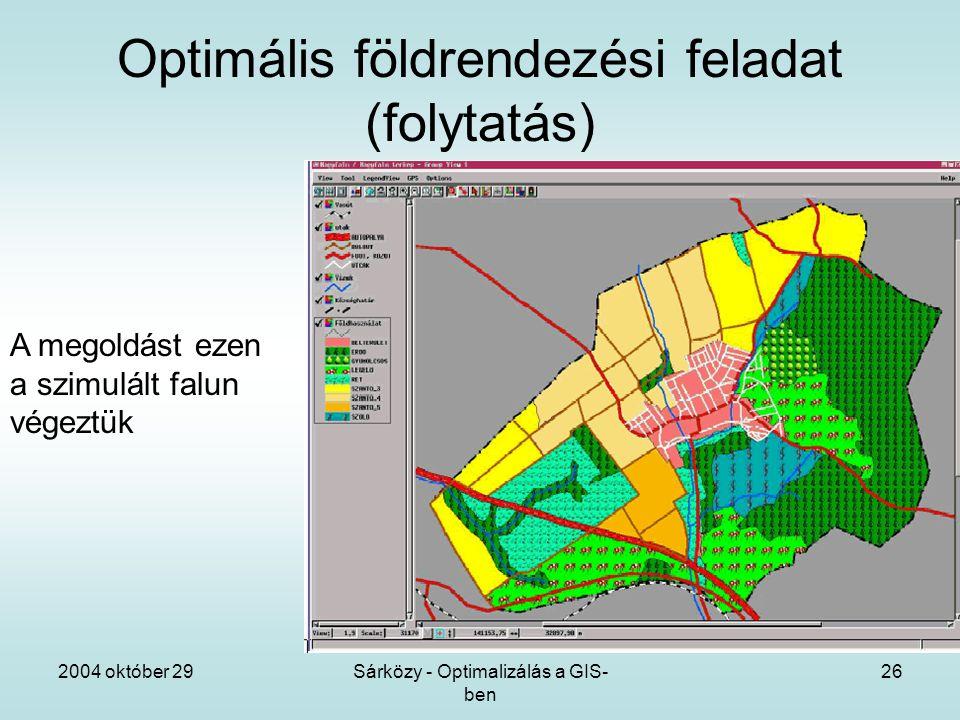 2004 október 29Sárközy - Optimalizálás a GIS- ben 26 Optimális földrendezési feladat (folytatás) A megoldást ezen a szimulált falun végeztük