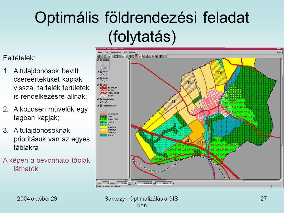 2004 október 29Sárközy - Optimalizálás a GIS- ben 27 Optimális földrendezési feladat (folytatás) Feltételek: 1.A tulajdonosok bevitt csereértéküket kapják vissza, tartalék területek is rendelkezésre állnak; 2.A közösen művelők egy tagban kapják; 3.A tulajdonosoknak prioritásuk van az egyes táblákra A képen a bevonható táblák láthatók