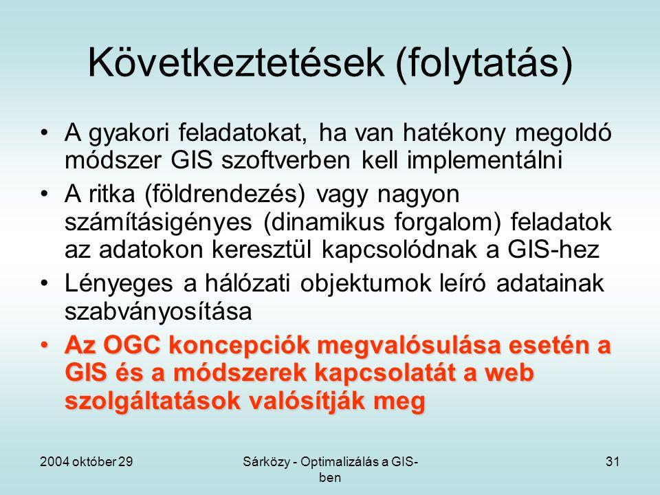 2004 október 29Sárközy - Optimalizálás a GIS- ben 31 Következtetések (folytatás) A gyakori feladatokat, ha van hatékony megoldó módszer GIS szoftverben kell implementálni A ritka (földrendezés) vagy nagyon számításigényes (dinamikus forgalom) feladatok az adatokon keresztül kapcsolódnak a GIS-hez Lényeges a hálózati objektumok leíró adatainak szabványosítása Az OGC koncepciók megvalósulása esetén a GIS és a módszerek kapcsolatát a web szolgáltatások valósítják megAz OGC koncepciók megvalósulása esetén a GIS és a módszerek kapcsolatát a web szolgáltatások valósítják meg