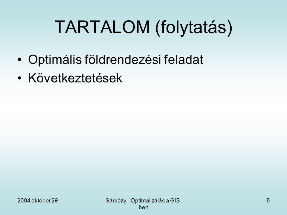 2004 október 29Sárközy - Optimalizálás a GIS- ben 5 TARTALOM (folytatás) Optimális földrendezési feladat Következtetések