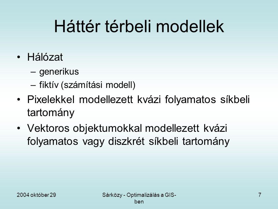 2004 október 29Sárközy - Optimalizálás a GIS- ben 7 Háttér térbeli modellek Hálózat –generikus –fiktív (számítási modell) Pixelekkel modellezett kvázi folyamatos síkbeli tartomány Vektoros objektumokkal modellezett kvázi folyamatos vagy diszkrét síkbeli tartomány