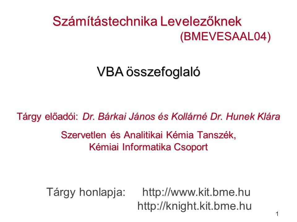 1 Szervetlen és Analitikai Kémia Tanszék, Kémiai Informatika Csoport Számítástechnika Levelezőknek (BMEVESAAL04) (BMEVESAAL04) Tárgy előadói: Dr.