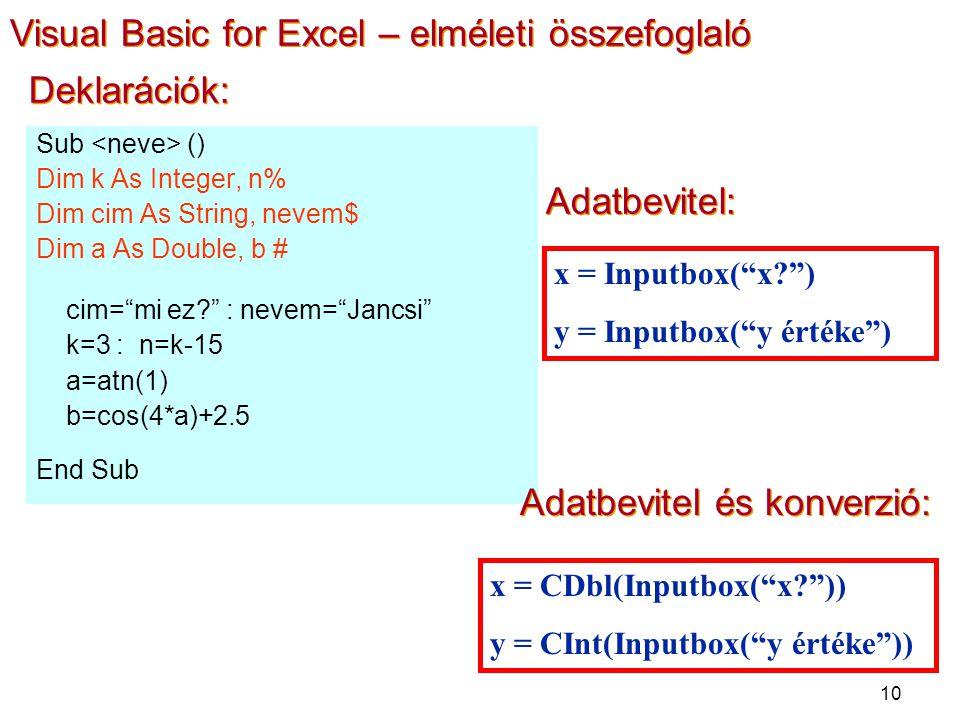 10 Deklarációk: Sub () Dim k As Integer, n% Dim cim As String, nevem$ Dim a As Double, b # cim= mi ez : nevem= Jancsi k=3 : n=k-15 a=atn(1) b=cos(4*a)+2.5 End Sub Adatbevitel: x = Inputbox( x ) y = Inputbox( y értéke ) Adatbevitel és konverzió: x = CDbl(Inputbox( x )) y = CInt(Inputbox( y értéke )) Visual Basic for Excel – elméleti összefoglaló