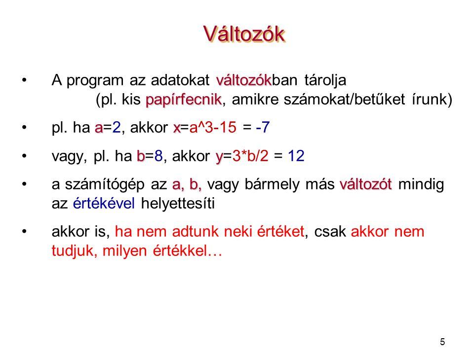 5 VáltozókVáltozók változókA program az adatokat változókban tárolja papírfecnik (pl.