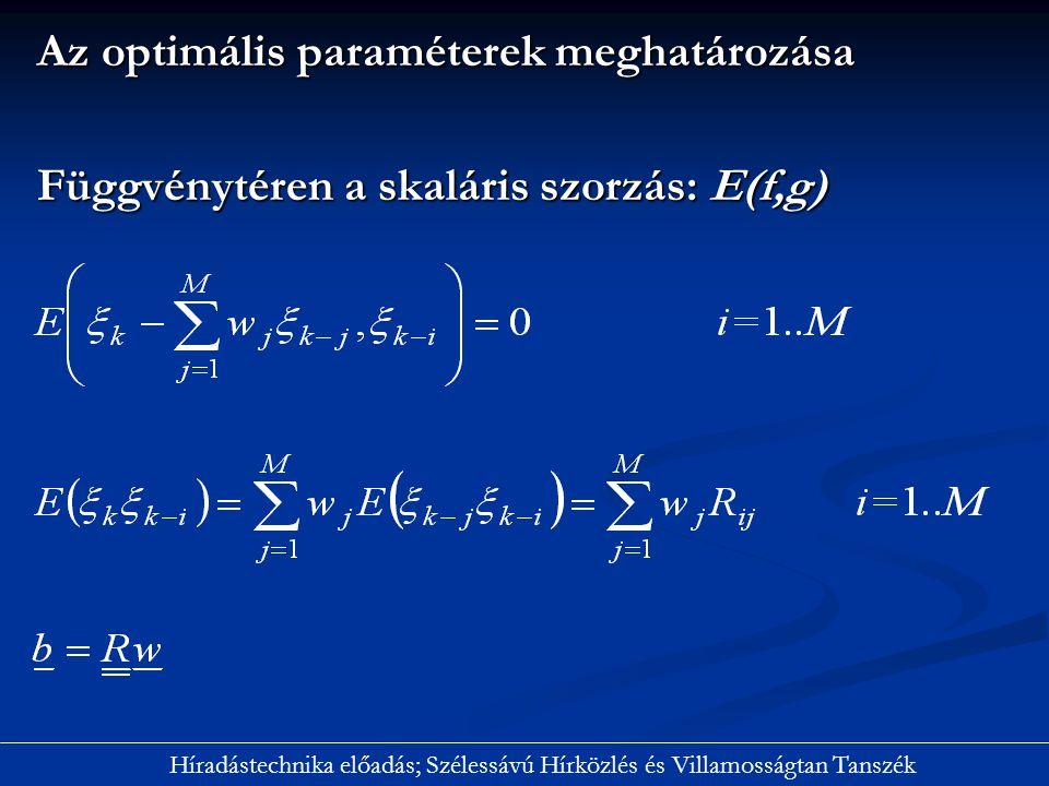 Az optimális paraméterek meghatározása Függvénytéren a skaláris szorzás: E(f,g) Híradástechnika előadás; Szélessávú Hírközlés és Villamosságtan Tanszé