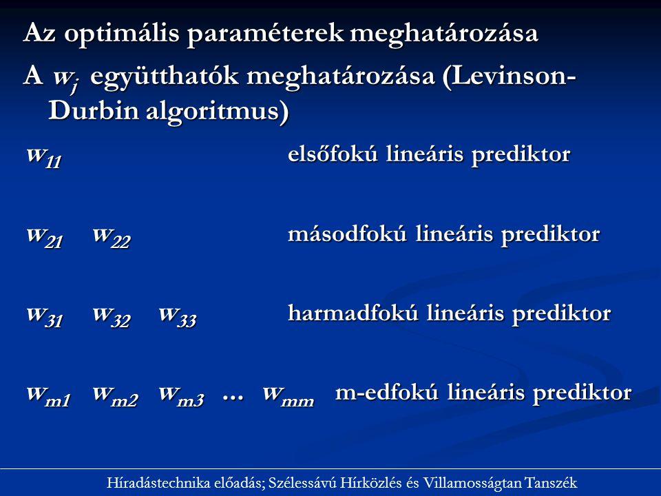 Az optimális paraméterek meghatározása A w j együtthatók meghatározása (Levinson- Durbin algoritmus) w 11 elsőfokú lineáris prediktor w 21 w 22 másodf