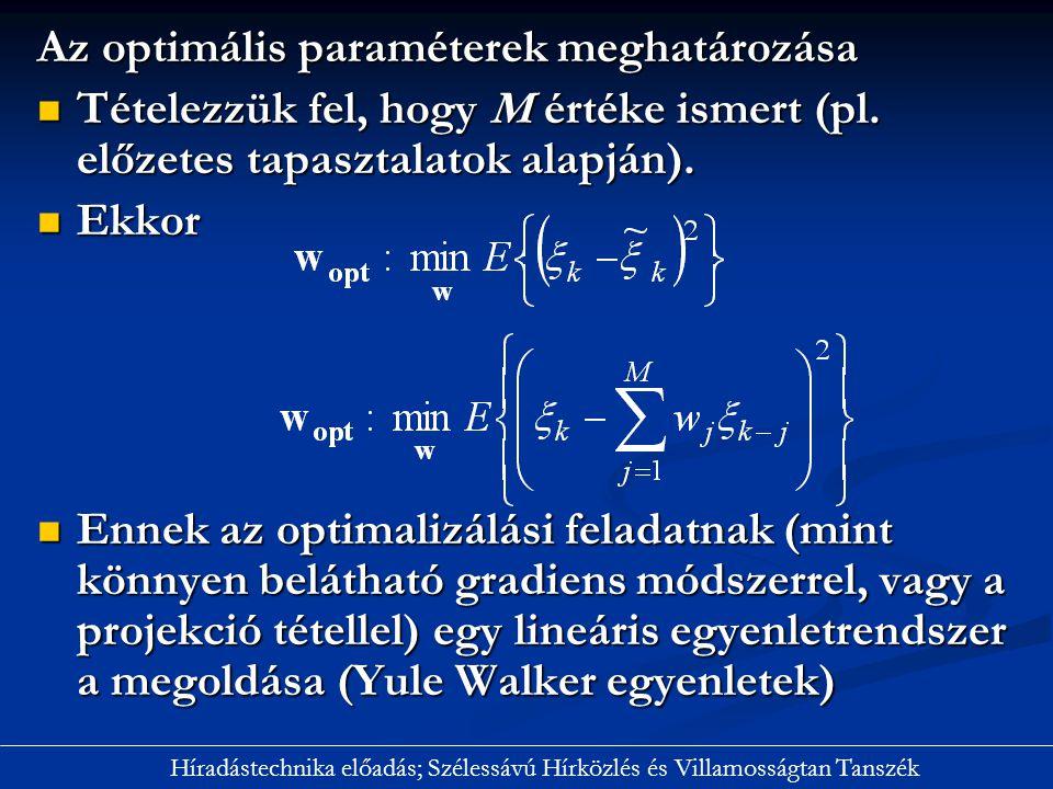 Az optimális paraméterek meghatározása Tételezzük fel, hogy M értéke ismert (pl. előzetes tapasztalatok alapján). Tételezzük fel, hogy M értéke ismert