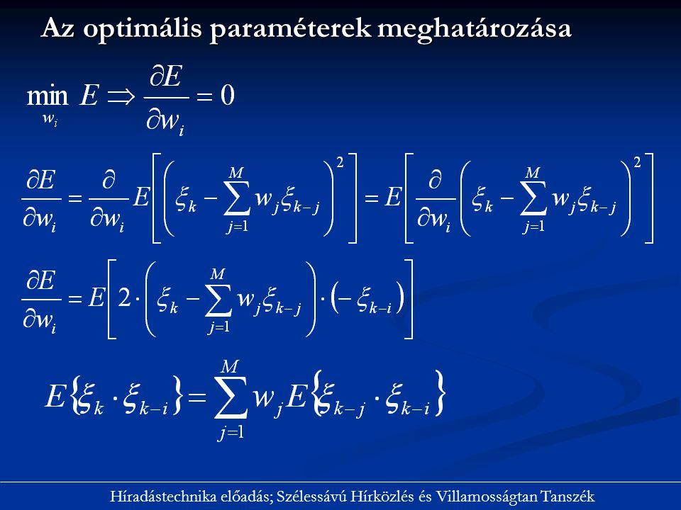 Az optimális paraméterek meghatározása Híradástechnika előadás; Szélessávú Hírközlés és Villamosságtan Tanszék