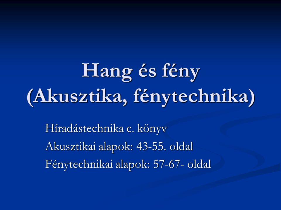 Hang és fény (Akusztika, fénytechnika) Híradástechnika c. könyv Akusztikai alapok: 43-55. oldal Fénytechnikai alapok: 57-67- oldal