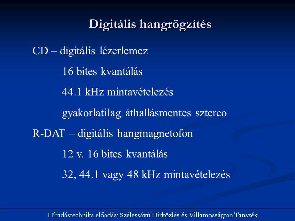 Digitális hangrögzítés Híradástechnika előadás; Szélessávú Hírközlés és Villamosságtan Tanszék CD – digitális lézerlemez 16 bites kvantálás 44.1 kHz m