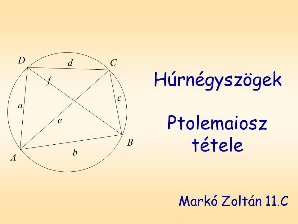 Húrnégyszögek Ptolemaiosz tétele Markó Zoltán 11.C D A B C a b c d f e