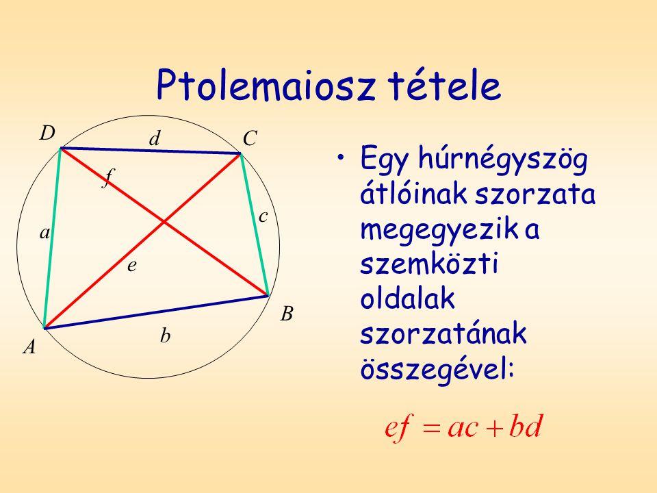 Ptolemaiosz tétele Egy húrnégyszög átlóinak szorzata megegyezik a szemközti oldalak szorzatának összegével: D A B C a b c d f e