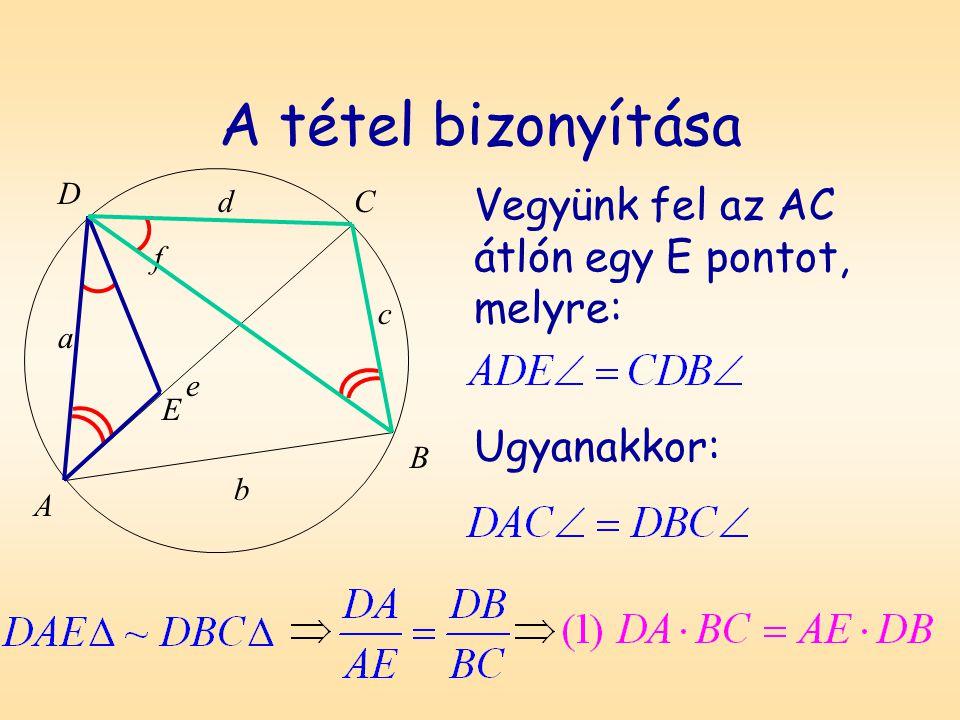 A tétel bizonyítása D A B C a b c d f e Vegyünk fel az AC átlón egy E pontot, melyre: E Ugyanakkor: