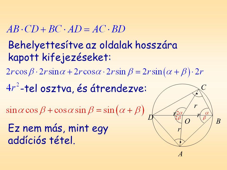 A B C O r r r r D Behelyettesítve az oldalak hosszára kapott kifejezéseket: -tel osztva, és átrendezve: Ez nem más, mint egy addíciós tétel.