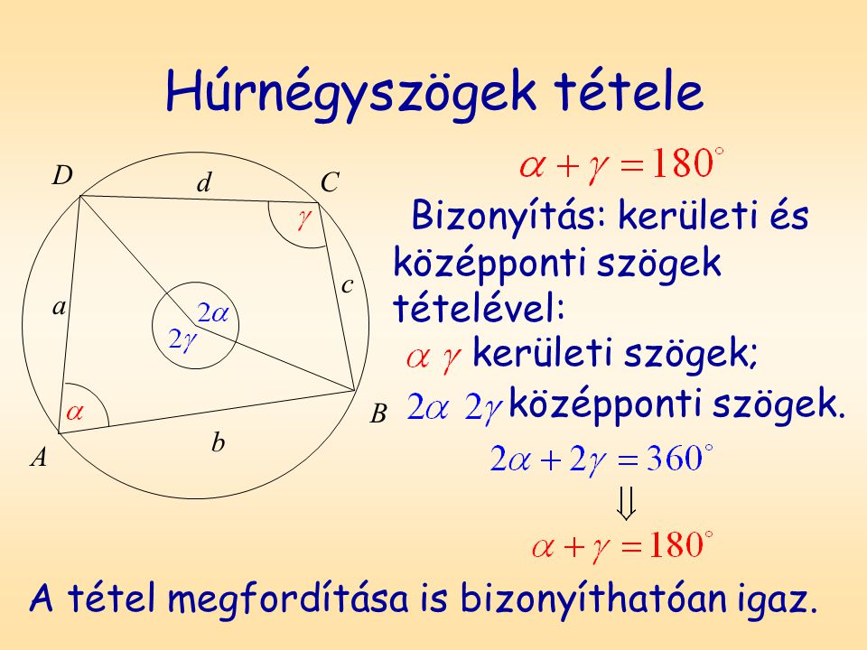 Húrnégyszögek tétele Bizonyítás: kerületi és középponti szögek tételével: D A B C a b c d kerületi szögek; középponti szögek. A tétel megfordítása is