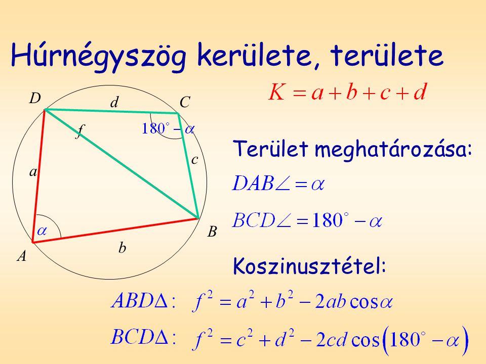 Húrnégyszög kerülete, területe Terület meghatározása: D A B C a b c d f Koszinusztétel: