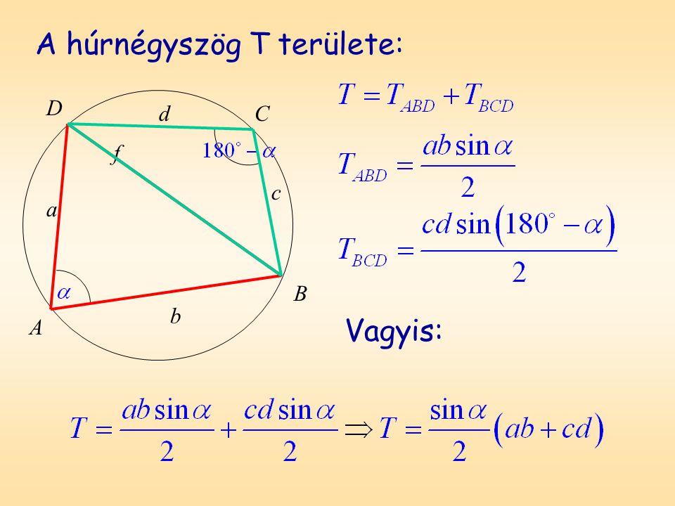 D A B C a b c d f A húrnégyszög T területe: Vagyis: