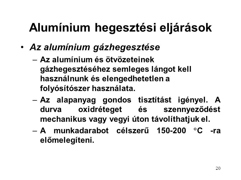 20 Az alumínium gázhegesztése –Az alumínium és ötvözeteinek gázhegesztéséhez semleges lángot kell használnunk és elengedhetetlen a folyósítószer használata.