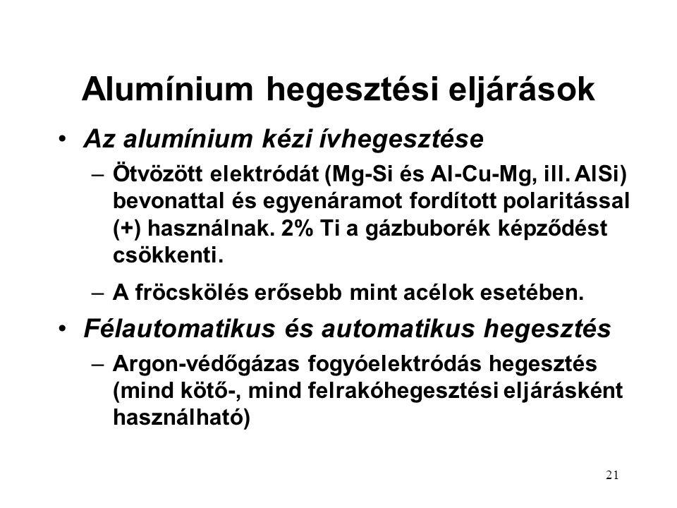 21 Alumínium hegesztési eljárások Az alumínium kézi ívhegesztése –Ötvözött elektródát (Mg-Si és Al-Cu-Mg, ill. AlSi) bevonattal és egyenáramot fordíto