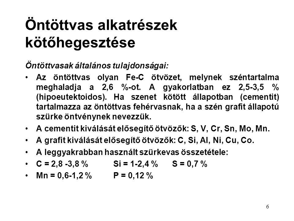 7 Az öntöttvas hegesztéskor figyelembe veendő tulajdonságai:  rideg (az egyenlőtlen felmelegedés-lehűlés feszültséget okoz, ez töréshez, repedéshez vezet).