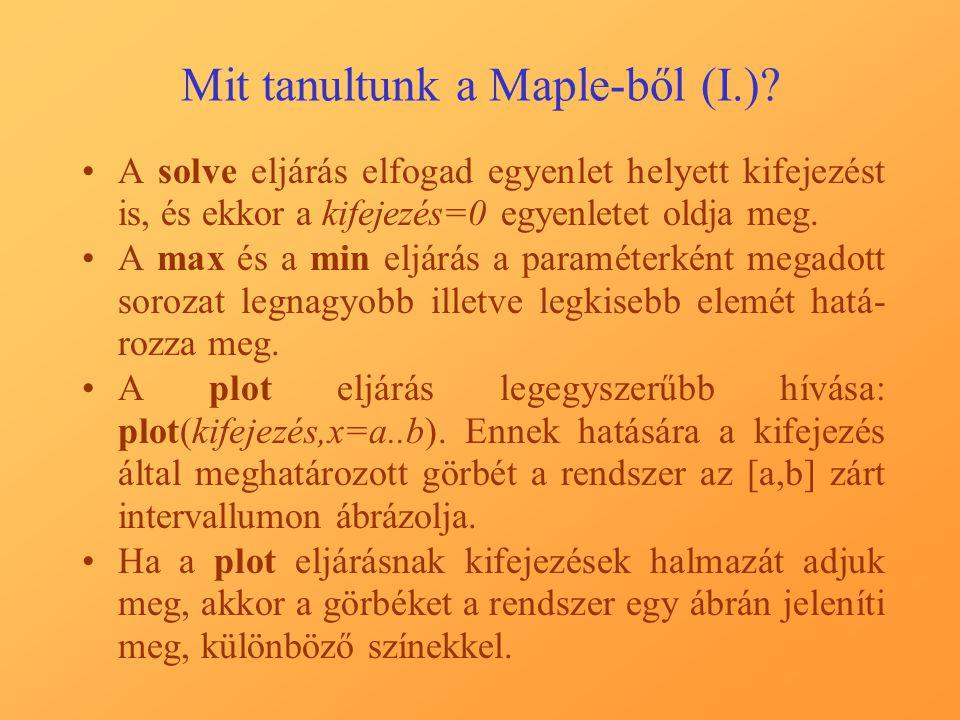 Mit tanultunk a Maple-ből (I.).