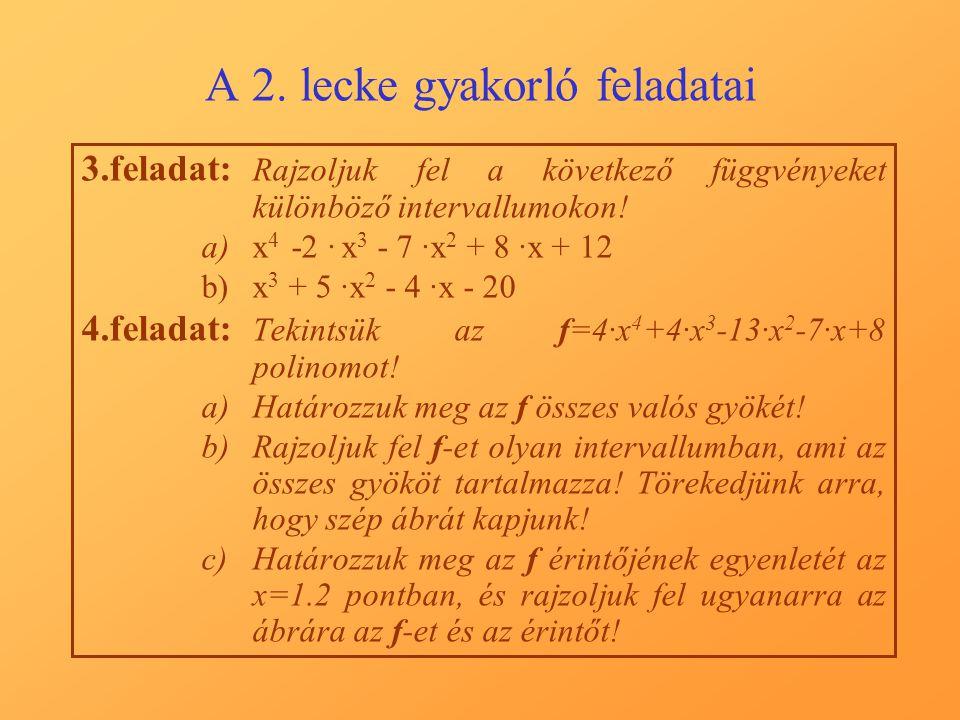 A 2. lecke gyakorló feladatai 3.feladat: Rajzoljuk fel a következő függvényeket különböző intervallumokon! a)x 4 -2 · x 3 - 7 ·x 2 + 8 ·x + 12 b)x 3 +