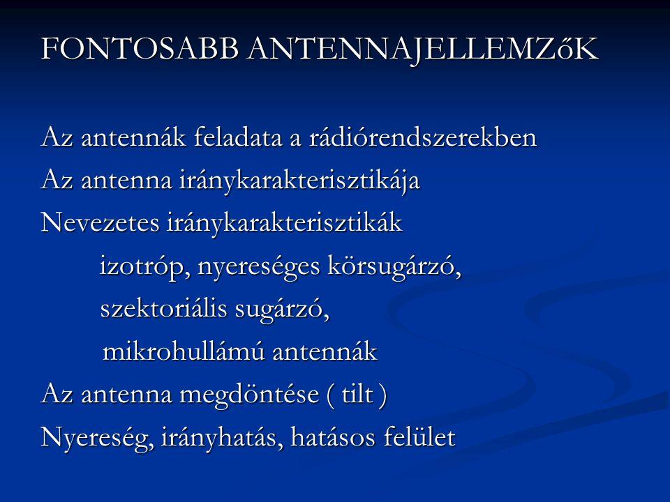 FONTOSABB ANTENNAJELLEMZőK Az antennák feladata a rádiórendszerekben Az antenna iránykarakterisztikája Nevezetes iránykarakterisztikák izotróp, nyereséges körsugárzó, izotróp, nyereséges körsugárzó, szektoriális sugárzó, szektoriális sugárzó, mikrohullámú antennák mikrohullámú antennák Az antenna megdöntése ( tilt ) Nyereség, irányhatás, hatásos felület