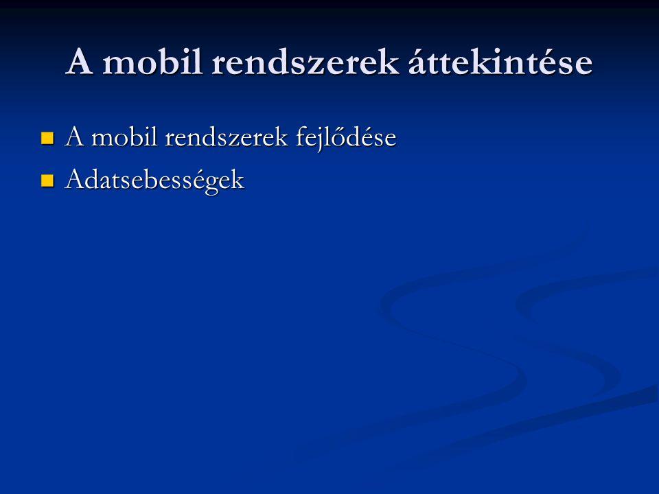 A mobil rendszerek áttekintése A mobil rendszerek fejlődése A mobil rendszerek fejlődése Adatsebességek Adatsebességek