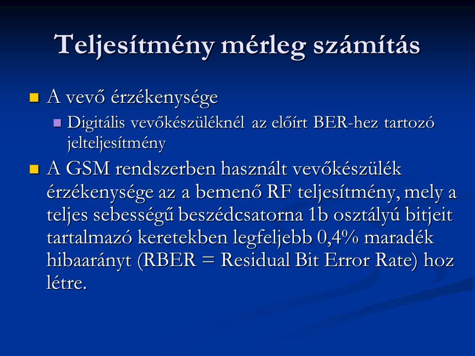 Teljesítmény mérleg számítás A vevő érzékenysége A vevő érzékenysége Digitális vevőkészüléknél az előírt BER-hez tartozó jelteljesítmény Digitális vevőkészüléknél az előírt BER-hez tartozó jelteljesítmény A GSM rendszerben használt vevőkészülék érzékenysége az a bemenő RF teljesítmény, mely a teljes sebességű beszédcsatorna 1b osztályú bitjeit tartalmazó keretekben legfeljebb 0,4% maradék hibaarányt (RBER = Residual Bit Error Rate) hoz létre.
