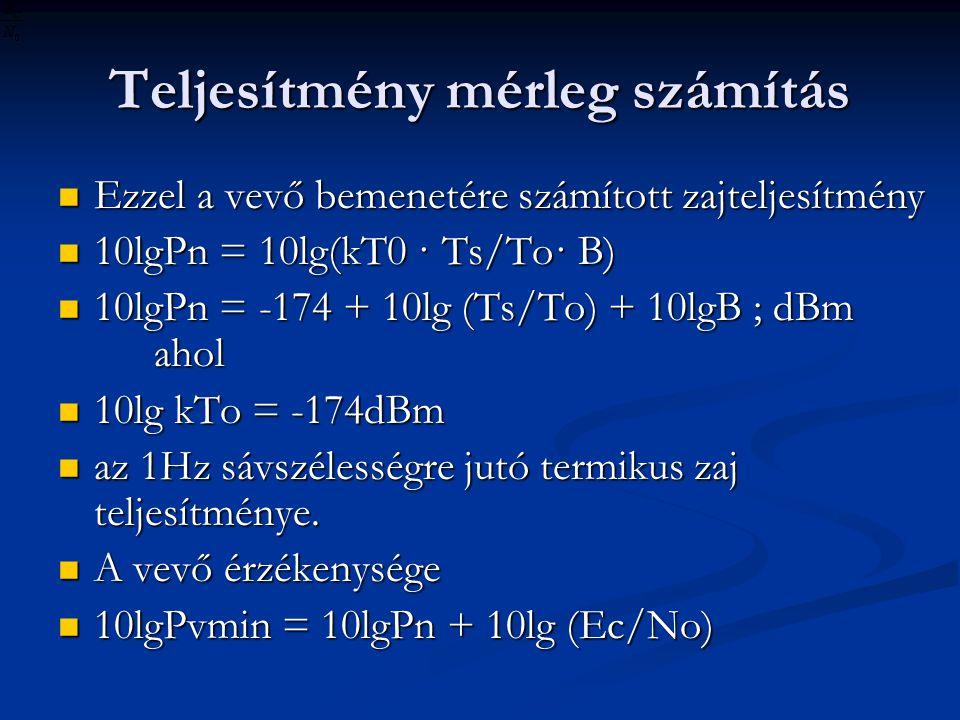Teljesítmény mérleg számítás Ezzel a vevő bemenetére számított zajteljesítmény Ezzel a vevő bemenetére számított zajteljesítmény 10lgPn = 10lg(kT0 · Ts/To· B) 10lgPn = 10lg(kT0 · Ts/To· B) 10lgPn = -174 + 10lg (Ts/To) + 10lgB ; dBm ahol 10lgPn = -174 + 10lg (Ts/To) + 10lgB ; dBm ahol 10lg kTo = -174dBm 10lg kTo = -174dBm az 1Hz sávszélességre jutó termikus zaj teljesítménye.