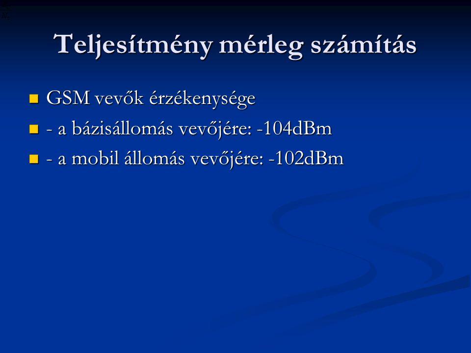 Teljesítmény mérleg számítás GSM vevők érzékenysége GSM vevők érzékenysége - a bázisállomás vevőjére: -104dBm - a bázisállomás vevőjére: -104dBm - a mobil állomás vevőjére: -102dBm - a mobil állomás vevőjére: -102dBm