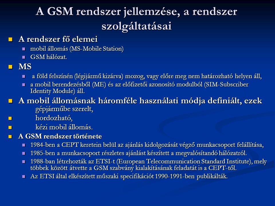 A GSM rendszer jellemzése, a rendszer szolgáltatásai A rendszer fő elemei A rendszer fő elemei mobil állomás (MS-Mobile Station) mobil állomás (MS-Mobile Station) GSM hálózat.