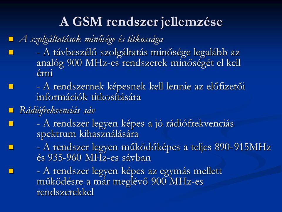 A szolgáltatások minősége és titkossága A szolgáltatások minősége és titkossága - A távbeszélő szolgáltatás minősége legalább az analóg 900 MHz-es rendszerek minőségét el kell érni - A távbeszélő szolgáltatás minősége legalább az analóg 900 MHz-es rendszerek minőségét el kell érni - A rendszernek képesnek kell lennie az előfizetői információk titkosítására - A rendszernek képesnek kell lennie az előfizetői információk titkosítására Rádiófrekvenciás sáv Rádiófrekvenciás sáv - A rendszer legyen képes a jó rádiófrekvenciás spektrum kihasználására - A rendszer legyen képes a jó rádiófrekvenciás spektrum kihasználására - A rendszer legyen működőképes a teljes 890-915MHz és 935-960 MHz-es sávban - A rendszer legyen működőképes a teljes 890-915MHz és 935-960 MHz-es sávban - A rendszer legyen képes az egymás mellett működésre a már meglévő 900 MHz-es rendszerekkel - A rendszer legyen képes az egymás mellett működésre a már meglévő 900 MHz-es rendszerekkel A GSM rendszer jellemzése
