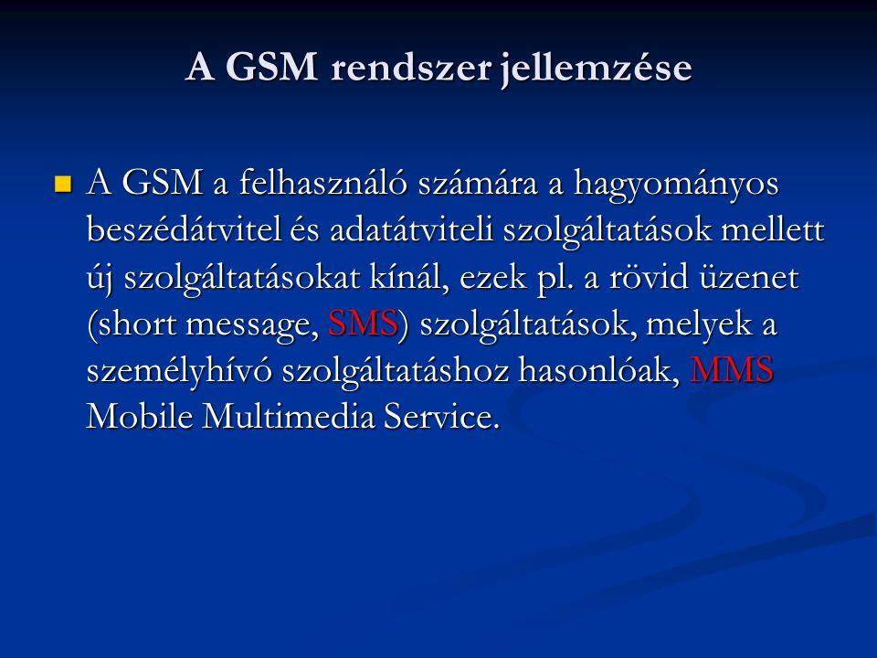 A GSM a felhasználó számára a hagyományos beszédátvitel és adatátviteli szolgáltatások mellett új szolgáltatásokat kínál, ezek pl.