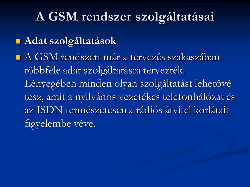 Adat szolgáltatások Adat szolgáltatások A GSM rendszert már a tervezés szakaszában többféle adat szolgáltatásra tervezték.