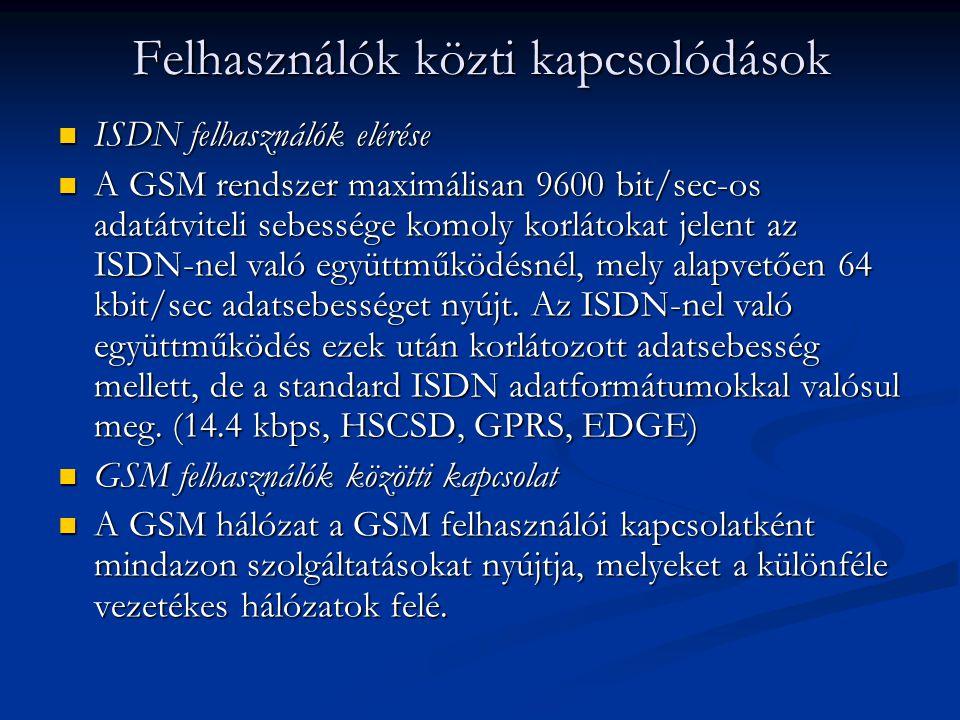 ISDN felhasználók elérése ISDN felhasználók elérése A GSM rendszer maximálisan 9600 bit/sec-os adatátviteli sebessége komoly korlátokat jelent az ISDN-nel való együttműködésnél, mely alapvetően 64 kbit/sec adatsebességet nyújt.
